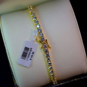 Other - Mens Full Iced Out 14K Gold Finish Tennis Bracelet
